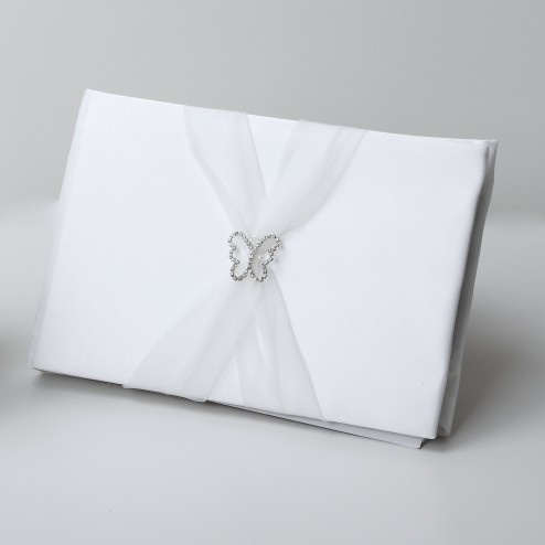 Butterfly Satin Guestbook with organza sash