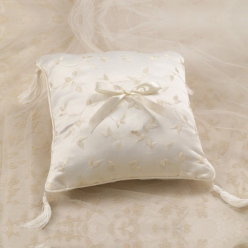 Elegant Satin Ring Pillow Ivory
