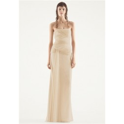 White Vera Wang Chiffon Column Wedding Dress