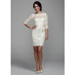 Short Lace Dress with 3/4 Sleeves Wedding dress